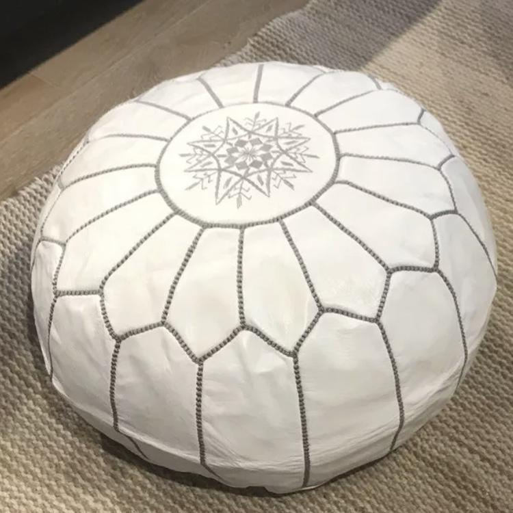 white moroccan leather pouffe for hire
