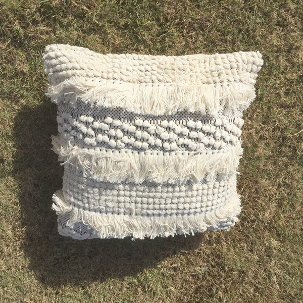 natural white frill boho fringe cushion for hire from exotic soirees gold coast