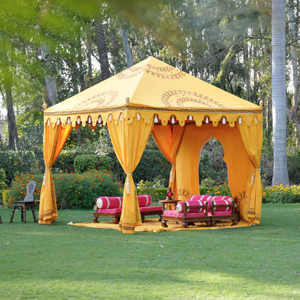 Luxury 3x3 metre striking saffron coloured marquee with hand blocked designs for hire, Indian moroccan tipi bollywood for events and parties