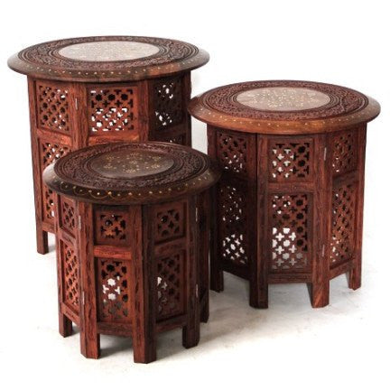 gorgeous chai octagonal tables made with shesham wood from India available to hire from Exotic Soirees Luxury marque hire gold coast to byron bay