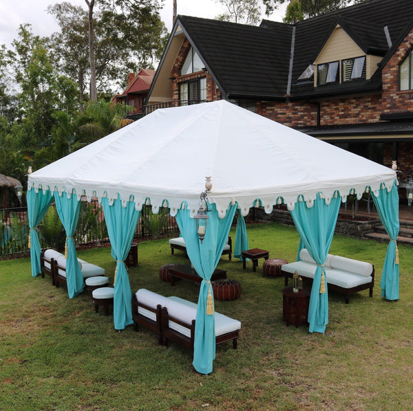 Luxury 6x4 metre turquoise and white marquee for hire with hand blocked designs, Indian moroccan tipi bollywood for weddings, events and parties