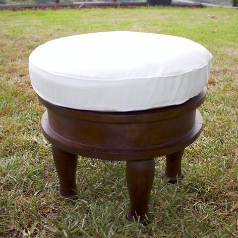 white bohemian stool for hire from exotic soirees luxury marquee hire on the gold coast and brisbane