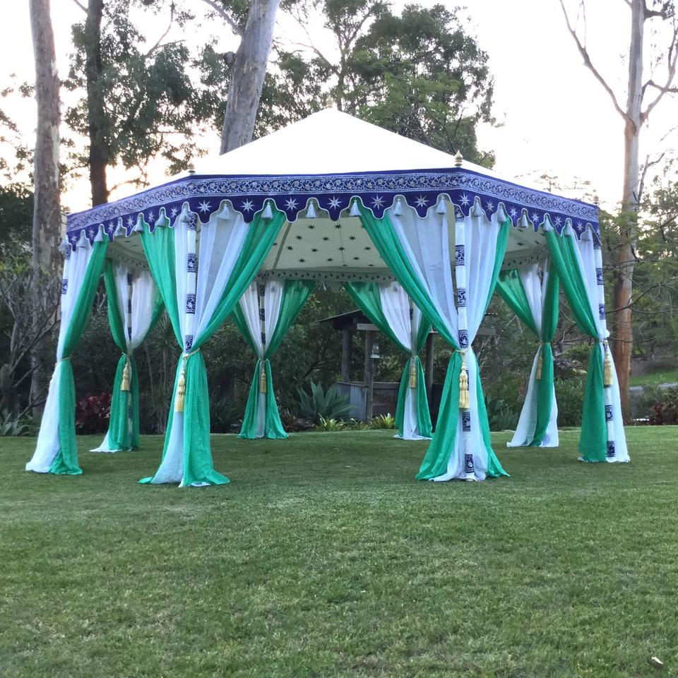 frozen themed tent pavilion in turquoise, blue and white, octagonal shape for hire from exotic soirees luxury marquee hire gold coast and brisbane for kids parties, engagements, events