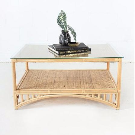 cane coffee table for hire