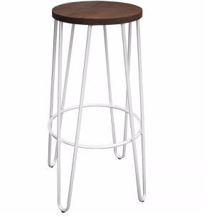 white hairpin barstool with dark timber seat