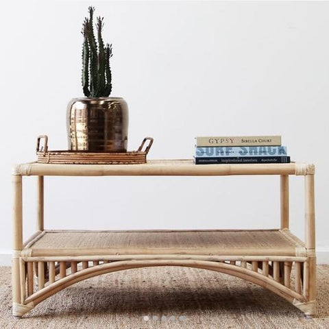 cane rattan coffee table for hire