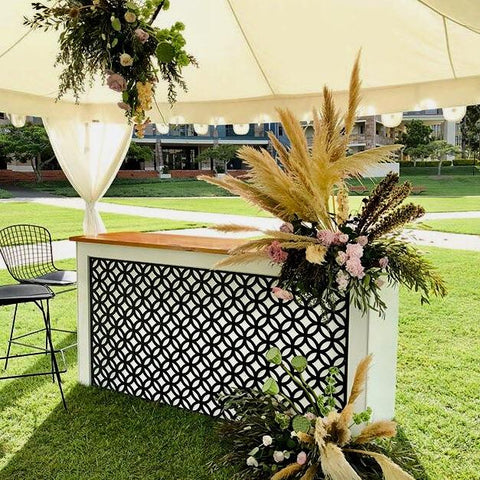 elegant timber service bar setting for hire gold coast and brisbane for bohemian weddings and parties