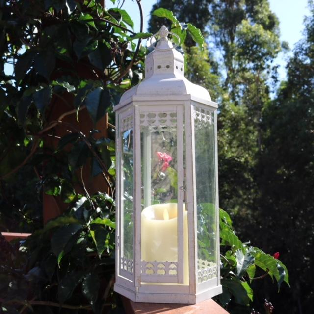 white wedding lantern with white candle for hire from exotic soirees in brisbane