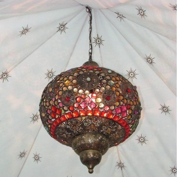 colourful beaded moroccan indian arabian pendant lamp in a vintage brass finish available to hire from exotic soirees luxury marquee hire on the gold coast for glamorous parties and events