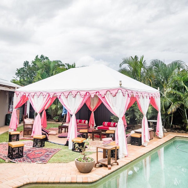 luxury pink and white bohemian tent for hire from exotic soirees marquees on the gold coast to brisbane and sunshine coast