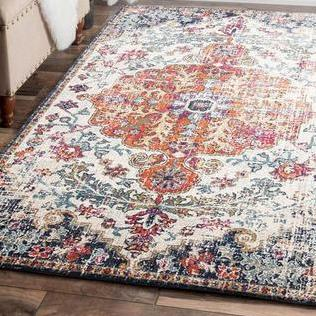 traditional turkish persian rug with orange, blue and white colours for hire on the gold coast