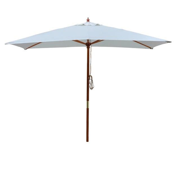 white shade umbrella with teak pole