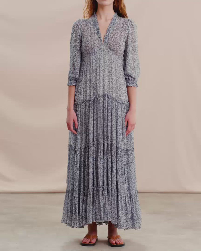 Load and play video in Gallery viewer, BY TIMO DELICATE SEMI MAXI DRESS PETIT BLUE