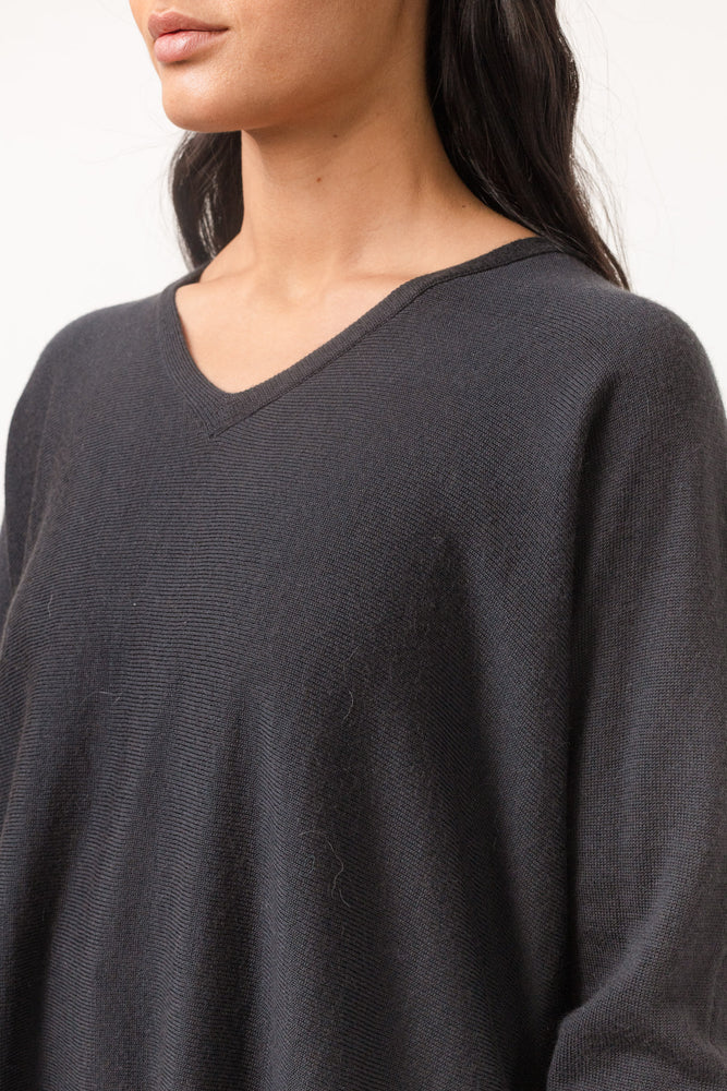 Load image into Gallery viewer, CATHRINE HAMMEL WIDE V-NECK SUMMER BLACK