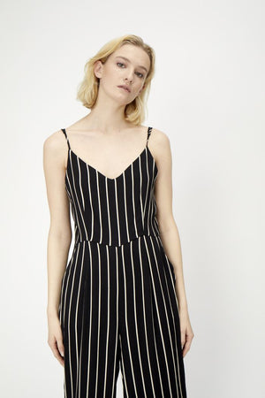 JUST FEMALE ANNA JUMPSUIT 8996 BLACK WHITE STRIPE