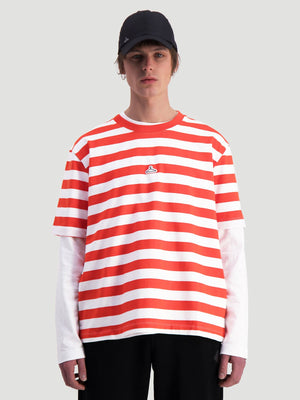 Load image into Gallery viewer, HOLZWEILER HANGER STRIPED TEE RED/WHITE