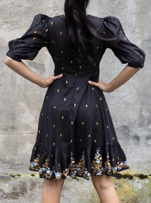 Load image into Gallery viewer, BY TIMO COTTON ORGANZA MINI DRESS BLACK