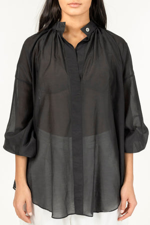 Load image into Gallery viewer, CATHRINE HAMMEL STRIPED SHEER POEM SHIRT BLACK