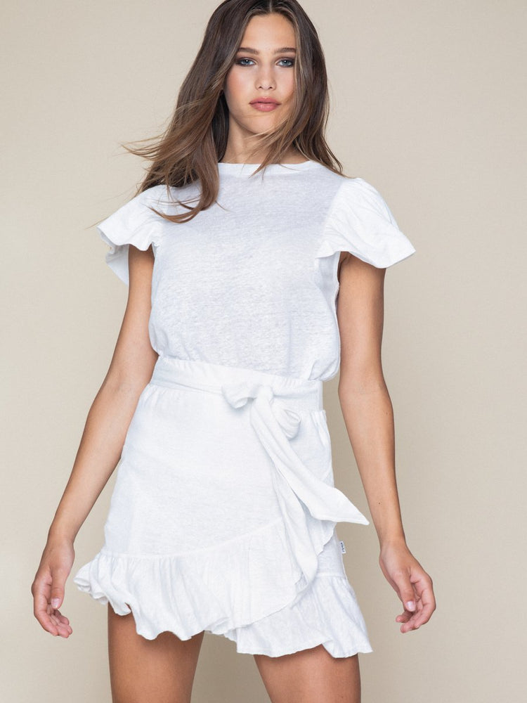 Load image into Gallery viewer, ELLA & IL JOSELLE LINEN TEE WHITE