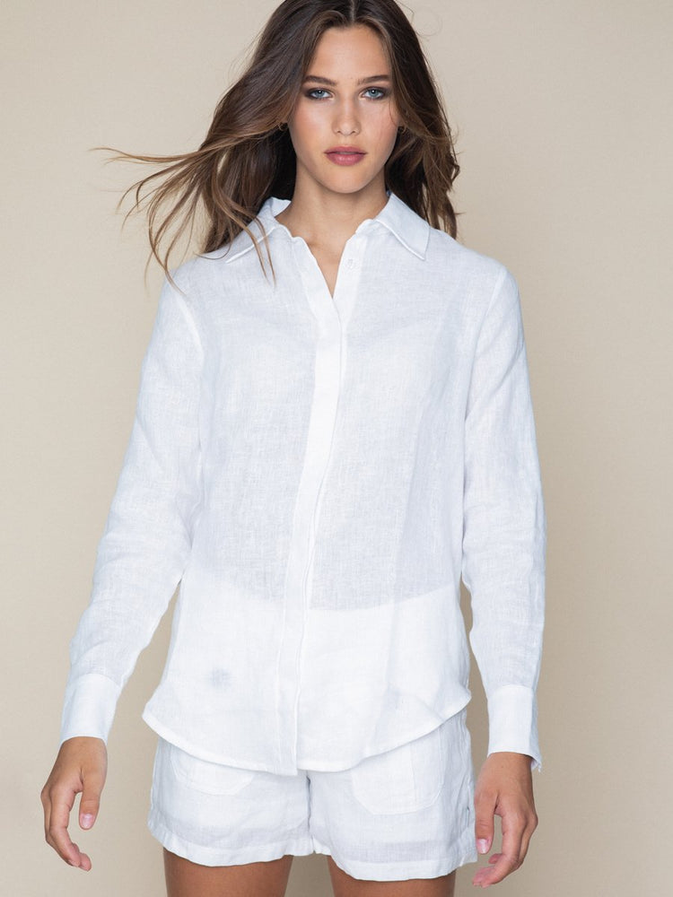 Load image into Gallery viewer, ELLA&IL LIVIA LINEN SHIRT WHITE