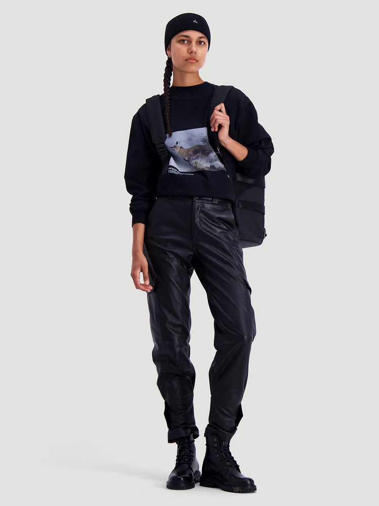 Load image into Gallery viewer, HOLZWEILER BLACK DUNDER LEATHER TROUSER