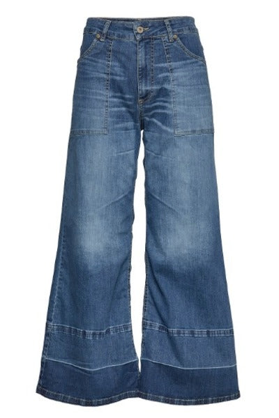 Load image into Gallery viewer, PLEASE WIDE LEG BLUE  DENIM