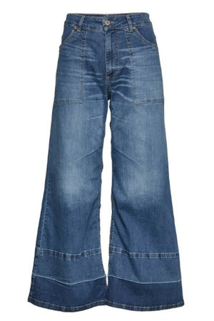 PLEASE WIDE LEG BLUE  DENIM