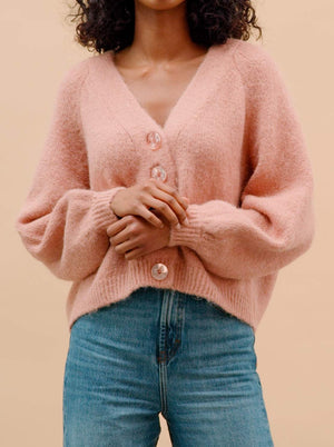 BY TIMO HAIRY KNIT CARDGAN  VINTAGE PINK
