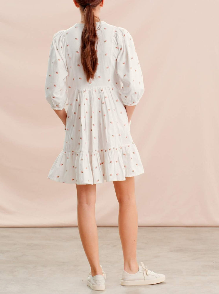 TI MO STRUCTURED COTTON SHIFT DRESS EMBROIDERY