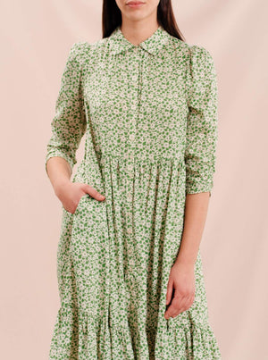 BY TIMO DELICATE SHIRT DRESS GREEN GARDEN