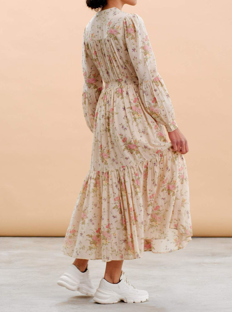BY TIMO BOHEMIAN MIDI DRESS HVIT