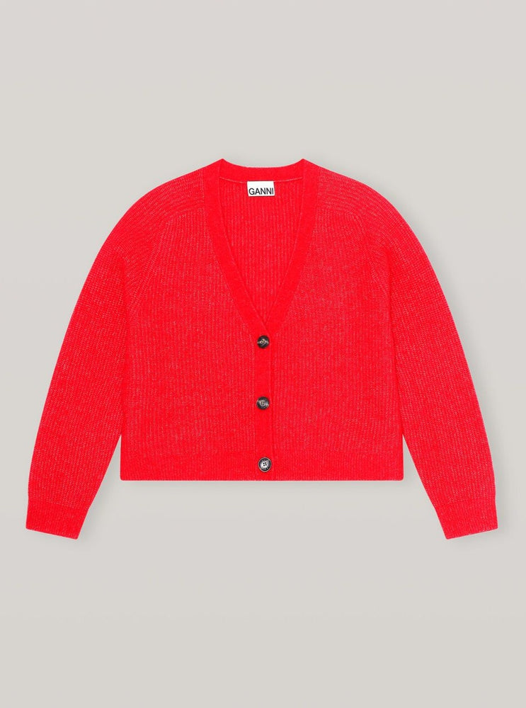 Load image into Gallery viewer, GANNI CARDIGAN FLAME SCARLET