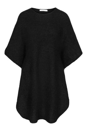 Load image into Gallery viewer, CATHRINE HAMMEL SOFT LONG CURVY PONCHO BLACK