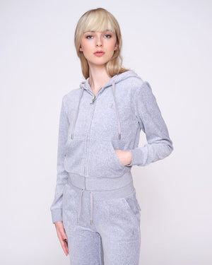 Load image into Gallery viewer, JUICY COUTURE VELOUR ZIP HOODIE LIGHT GREY MARL