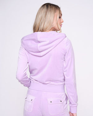 Load image into Gallery viewer, JUICY COUTURE VELOUR ZIP HOODIE PASTEL LILAC