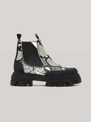 GANNI LOW CHELSEA BOOT EMBOSSED SNAKE KALAMATA