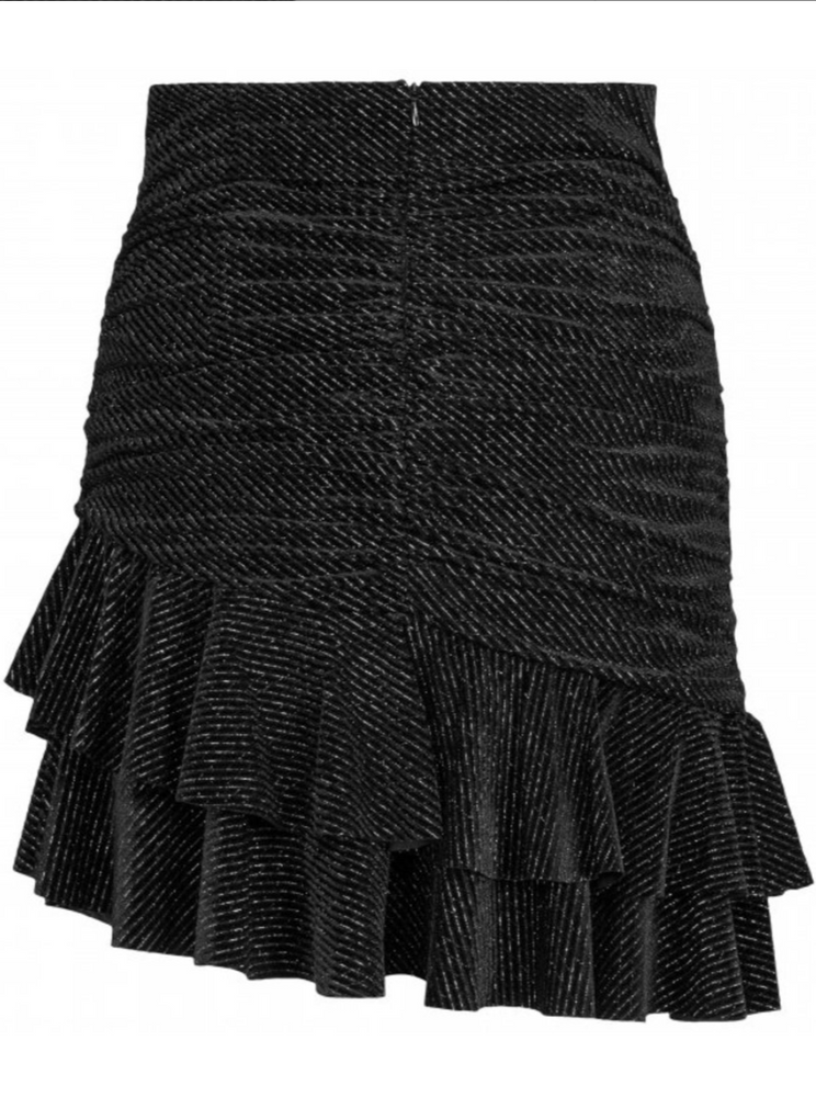 MAUD STRIPED VELVET SKIRT BLACK