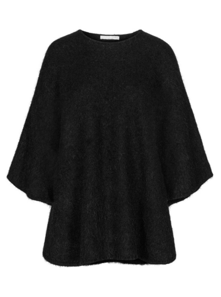 Load image into Gallery viewer, CATHRINE HAMMEL SOFT DEMI CURVY PONCHO BLACK