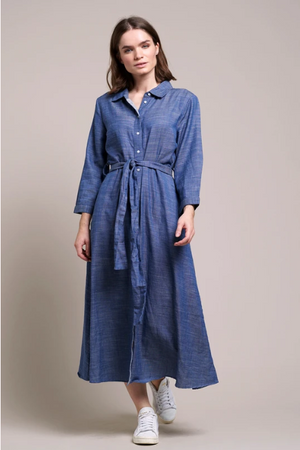 Load image into Gallery viewer, LOLLYS LAUNDRY NICOLE SHIRT DRESS BLUE