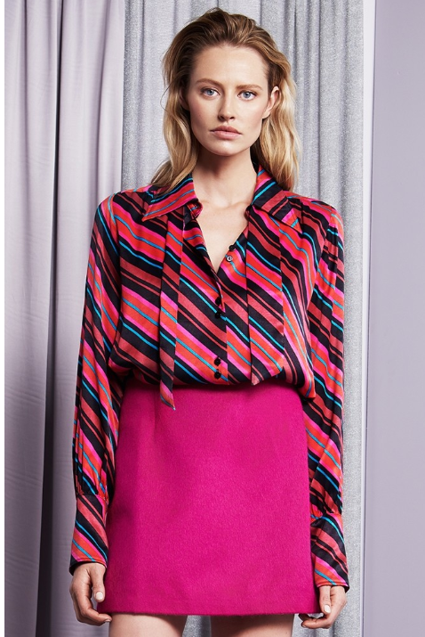 Load image into Gallery viewer, FABIENNE CHAPOT PARIS STRIPE BLOUSE FUCHSIA
