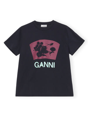 Load image into Gallery viewer, GANNI T SHIRT FLOWER PHANTOM