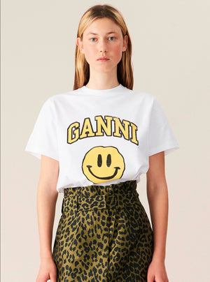 GANNI T SHIRT SMILEY YELLOW HVIT