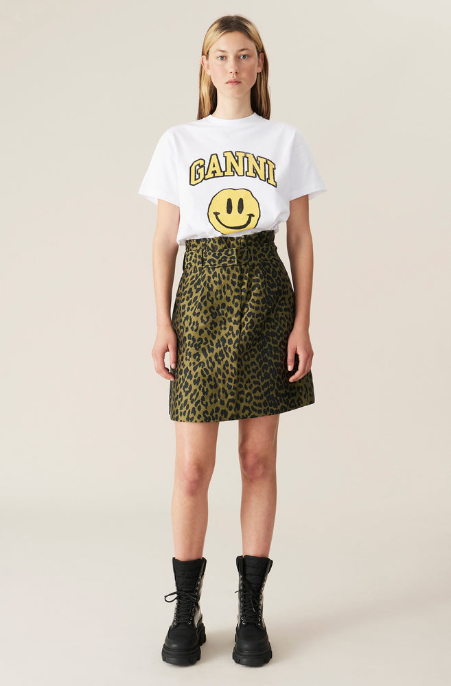 Load image into Gallery viewer, GANNI T SHIRT SMILEY YELLOW HVIT