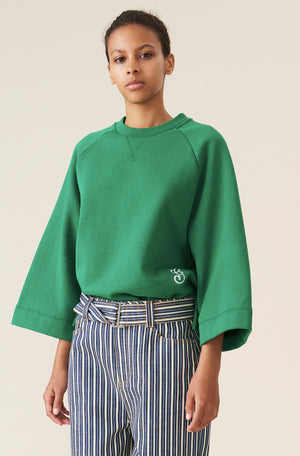 GANNI OVERSIZED RAGLAN SWEATSHIRT KELLY GREEN