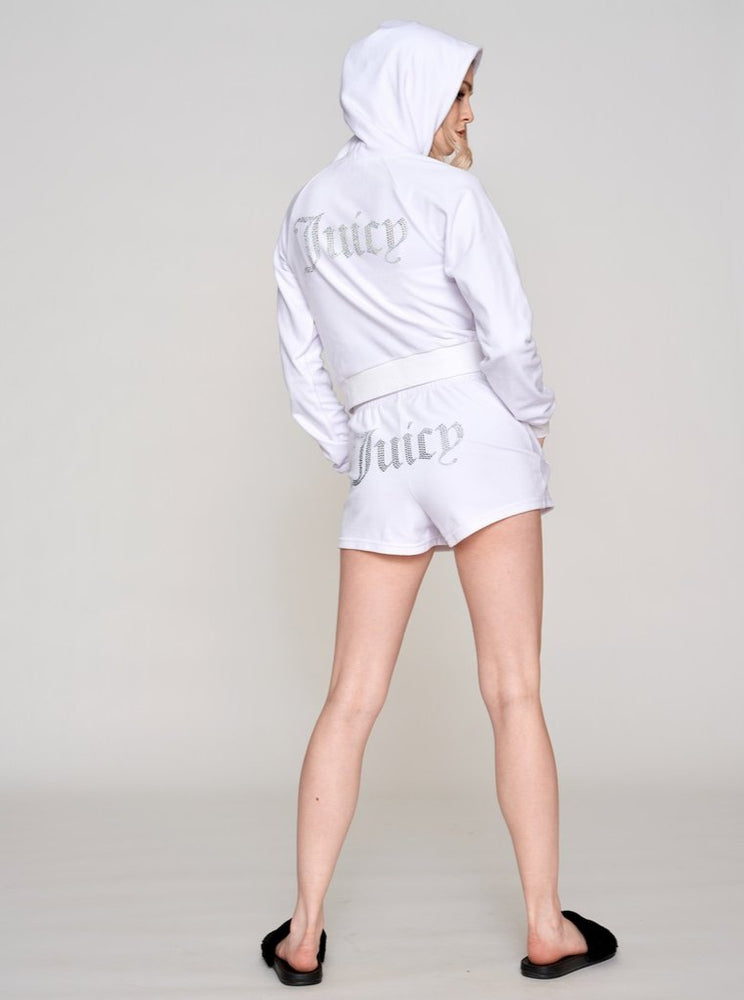 JUICY COUTURE TAMIA TRACK SHORTS WHITE