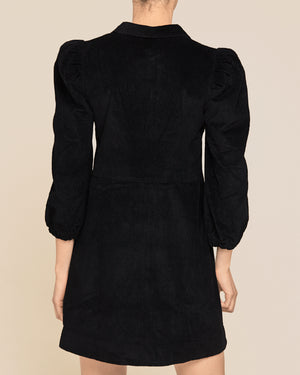 BY TI MO CORDUROY MINI DRESS BLACK