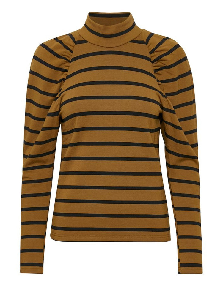 GESTUZ RIFELLAGZ STRIPE TURTLENECK MA20 SORT/BRUN