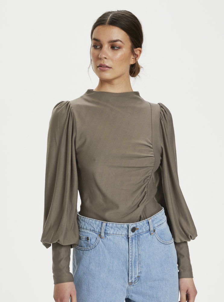 GESTUZ RIFAGZ PUFF BLOUSE EARTH