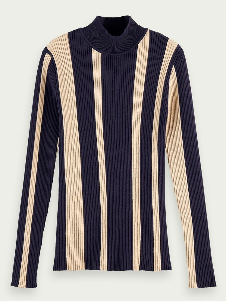 Scotch & Soda Turtle neck rib knit BLÅ/BEIGE
