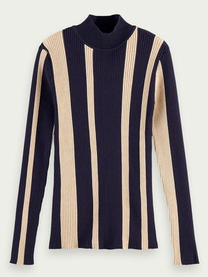 Load image into Gallery viewer, Scotch & Soda Turtle neck rib knit BLÅ/BEIGE